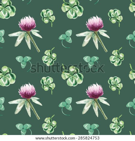 watercolor clover pattern  - stock photo