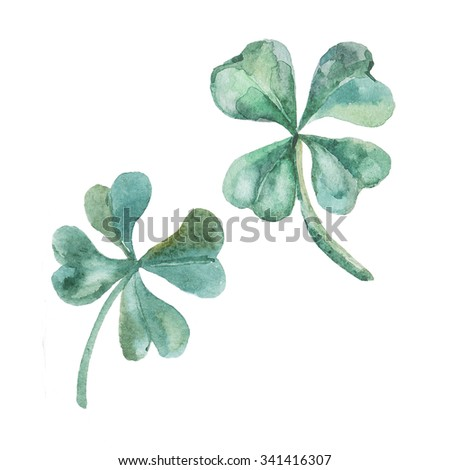 Watercolor clover. St. Patrick's Day. - stock photo