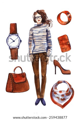 Watercolor collection of fashionable clothes seasons spring, summer for girl. fashion boutique set, doodles on wright paper. Brown, orange, blue color and frock. a woman's or girl's dress. - stock photo