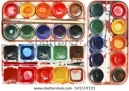 watercolor color palette vintage background - stock photo