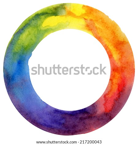 watercolor, color wheel, isolated object - stock photo
