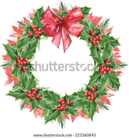 Watercolor colorful floral greeting decoration wreath set with holly - stock photo