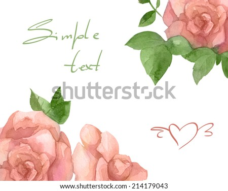 Watercolor colorful flower and herb card and frame set with rose  - stock photo