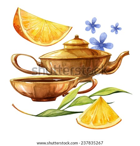 Watercolor colorful romantic refreshment and relax tea time set - stock photo