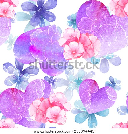 Watercolor colorful tender background with hearts - stock photo