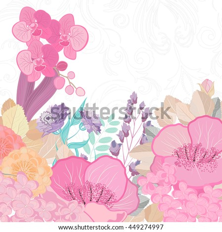 Watercolor colors flower background. Spring nature design with floral branches. Abstract illustration card. - stock photo