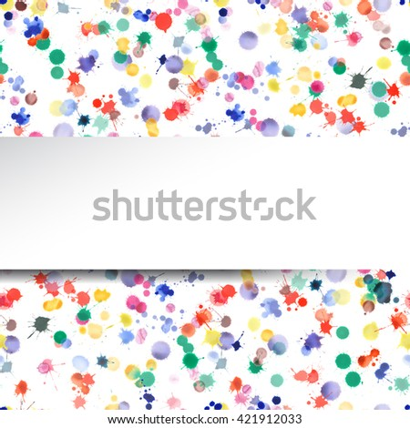 Watercolor confetti design. Abstract background with colorful scattered bright expressive stains. Bright banner with watercolor confetti blots. Hand drawn watercolor card. - stock photo