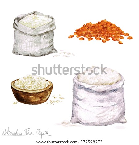 Watercolor Cooking Clipart - Flour and Cereal - stock photo