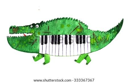 watercolor crocodile, piano crocodile, cartoon illustration isolated on white background - stock photo