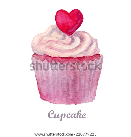 watercolor cupcake hand painted illustration. - stock photo