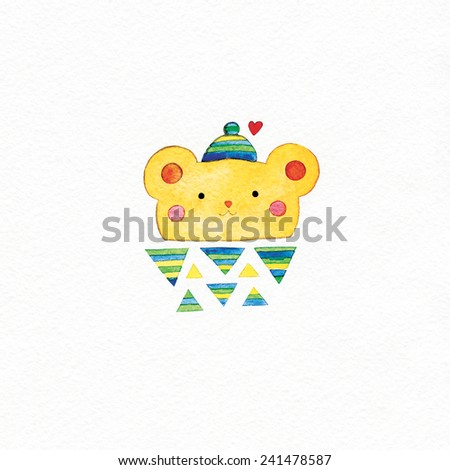 watercolor cute bear and red heart. watercolor illustration. - stock photo
