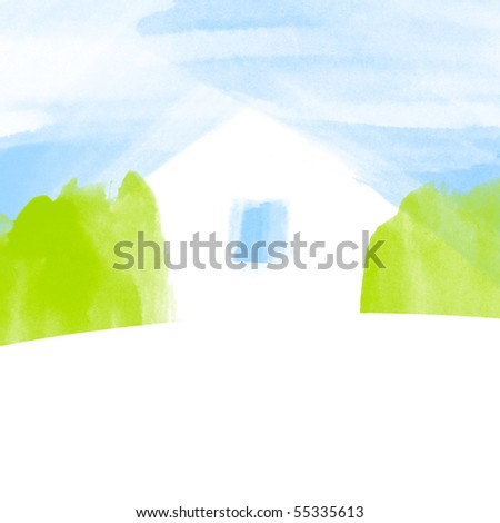 Watercolor cute eco house metaphor. - stock photo