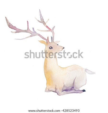 Watercolor deer. Hand painted animal in pastel colors and ornamental antler. Artistic illustration isolated on white background - stock photo