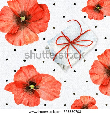 Watercolor design with poppies - stock photo