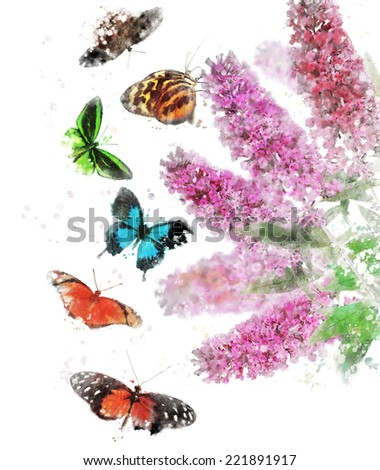 Watercolor Digital Painting Of Buddleja (Butterfly Bush) With Butterflies - stock photo