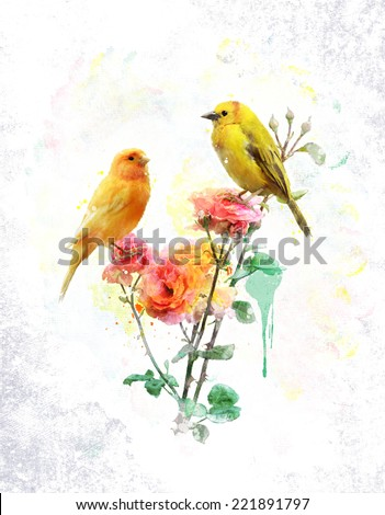 Watercolor Digital Painting Of Flowers And Yellow Birds - stock photo