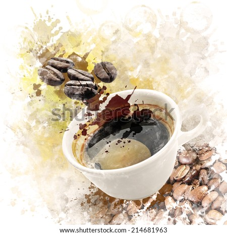 Watercolor Digital Painting Of Morning Coffee Cup - stock photo
