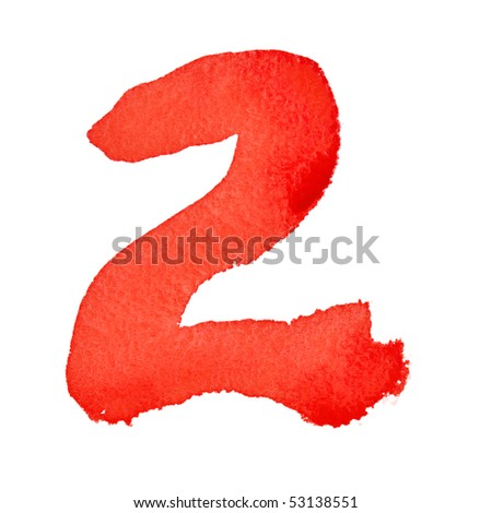 Watercolor digits isolated over the white background - stock photo