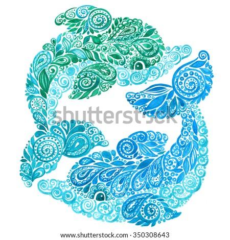 Watercolor Dolphins Doodle Mehndi Ethnic Illustration. - stock photo