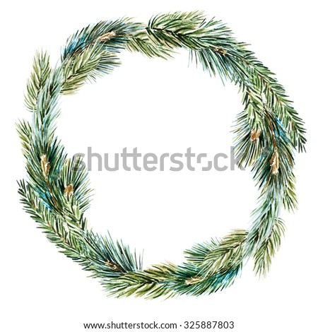 watercolor drawing isolated Christmas wreath with fir tree, frame plant, invitation, - stock photo
