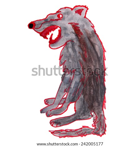 watercolor drawing kids cartoon wolf on a white background - stock photo