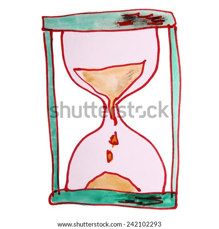 watercolor drawing kids watch, cartoon sand on a white background - stock photo