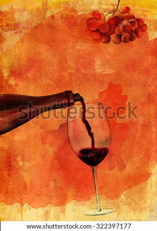 Watercolor drawing of red wine poured into a glass with the help of wine aerator, on bright golden artistic background texture, with branch of grapes, wine list cover design or poster - stock photo