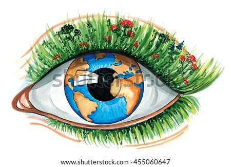 Watercolor Eco Concept, conservation of the environment, ecology, resources of the planet. Eye, a pupil in the form of the Earth globe, eyelid like soil on which grass herbs, plants, flowers eyelashes - stock photo