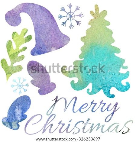 Watercolor elements for Christmas card - stock photo