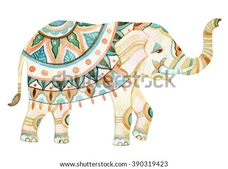 Watercolor elephant in bohemian style. Ornate elephant in pastel colors isolated on white background. Hand drawn illustration for design in tribal or boho styles - stock photo