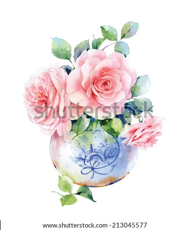 Watercolor English roses in vase - stock photo