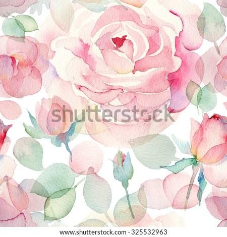 Watercolor English roses seamless pattern.  - stock photo