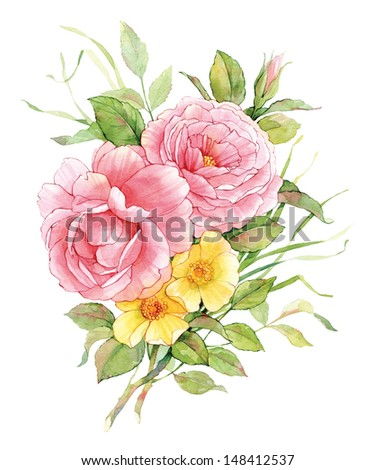 Watercolor English roses with flowers of a dogrose. - stock photo