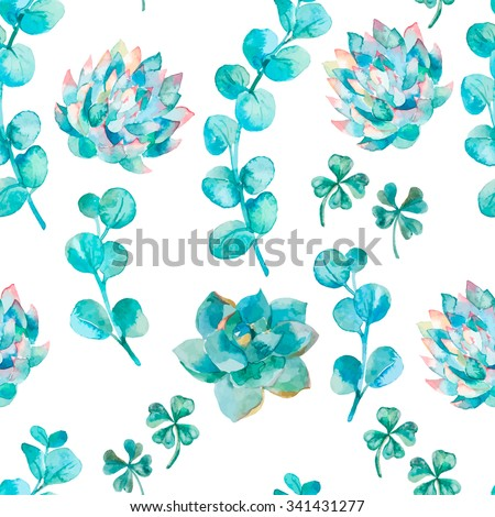 Watercolor eucalyptus leaves and branches, succulent and clover. Hand painted watercolor pattern with four leaf clover. Shamrock. - stock photo