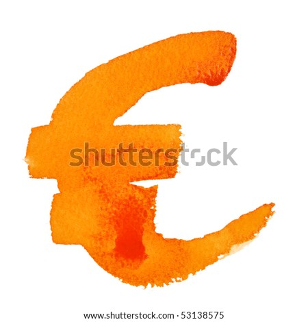 Watercolor euro sign over the white background - stock photo