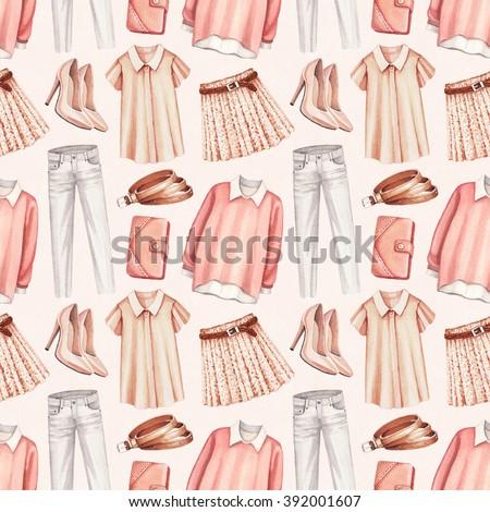 Watercolor fashion illustration. Seamless pattern  - stock photo