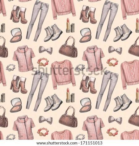 Watercolor fashion pattern - stock photo
