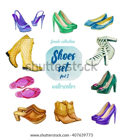watercolor female collection, fashion women shoe set - stock photo