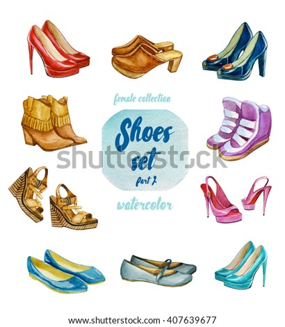 watercolor female shoes set, hand draw shoes collection - stock photo