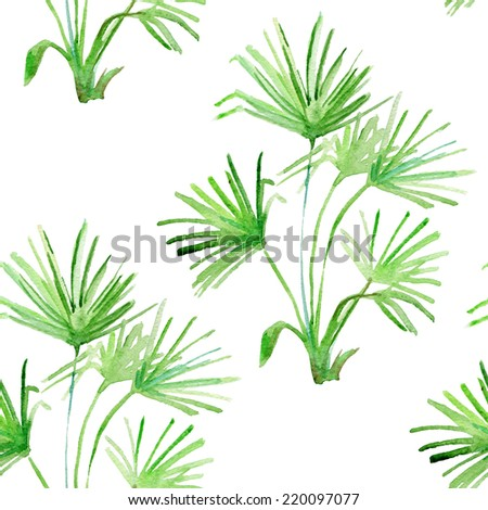 Watercolor floral and travel tropical pattern set with palm leaves - stock photo