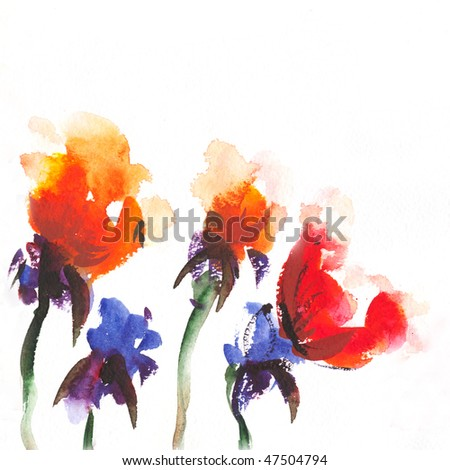 "watercolor   floral background Album ""Roses watercolor"";"" flower watercolor"" - stock photo"
