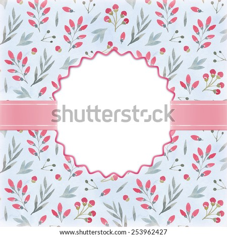 Watercolor floral background. Perfect for greeting card or invitation - stock photo
