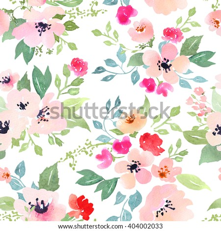 Watercolor floral botanical pattern and seamless background. Ideal for printing onto fabric and paper or scrap booking. Hand painted. Raster illustration. Clipping path included. Fast isolation. - stock photo