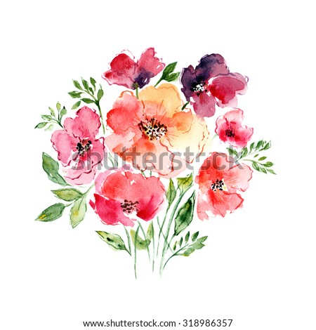 Watercolor floral bouquet. Floral background. Birthday card. - stock photo
