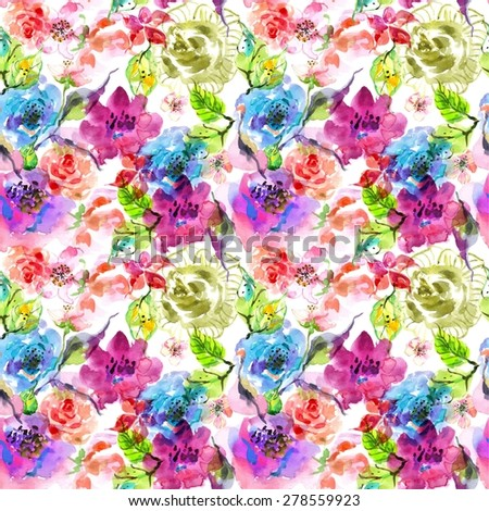 Watercolor floral frame, beautiful natural illustration - stock photo