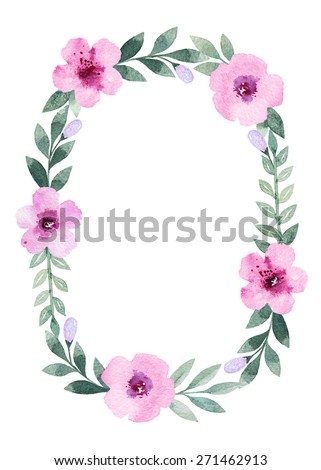 Watercolor floral frame. Perfect for greeting card or invitation - stock photo