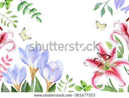 Watercolor floral frame with liliy and crocus - stock photo