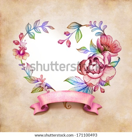 watercolor floral heart composition with ribbon tag on vintage paper background - stock photo