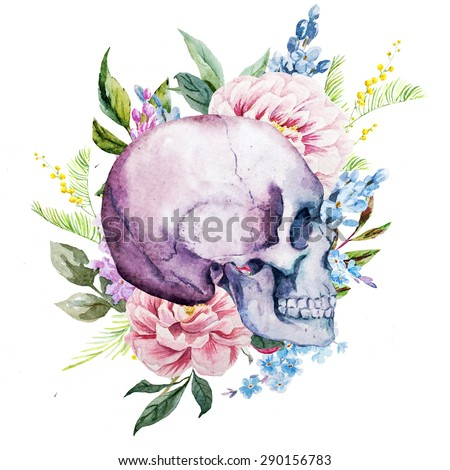 watercolor floral pattern, boho style with skull and flowers lilacs and peonies,isolated object - stock photo