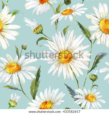 watercolor floral pattern daisy, white gentle chamomile, medicinal plant, seamless pattern, blue background - stock photo
